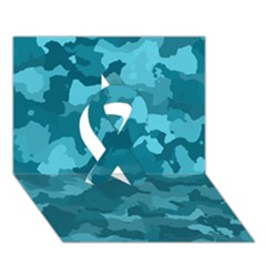 Camouflage Teal Ribbon 3d Greeting Card (7x5)