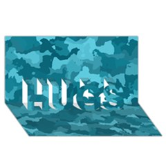 Camouflage Teal HUGS 3D Greeting Card (8x4)