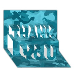 Camouflage Teal THANK YOU 3D Greeting Card (7x5)