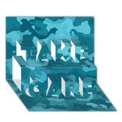 Camouflage Teal TAKE CARE 3D Greeting Card (7x5)