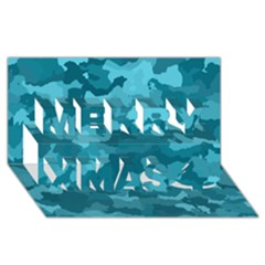 Camouflage Teal Merry Xmas 3D Greeting Card (8x4)