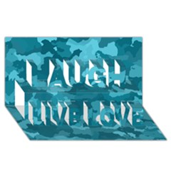 Camouflage Teal Laugh Live Love 3d Greeting Card (8x4)