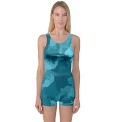 Camouflage Teal Women s Boyleg One Piece Swimsuits