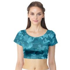 Camouflage Teal Short Sleeve Crop Top