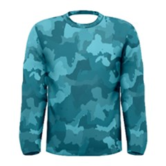Camouflage Teal Men s Long Sleeve T Shirts