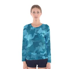 Camouflage Teal Women s Long Sleeve T Shirts