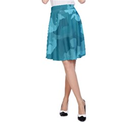 Camouflage Teal A-Line Skirts
