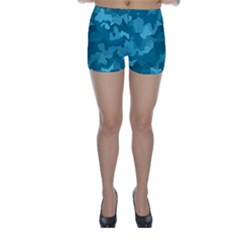 Camouflage Teal Skinny Shorts
