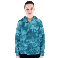 Camouflage Teal Women s Zipper Hoodies
