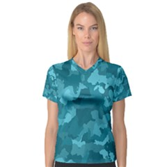 Camouflage Teal Women s V-Neck Sport Mesh Tee
