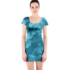 Camouflage Teal Short Sleeve Bodycon Dresses