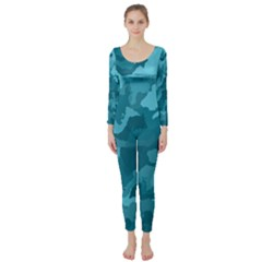 Camouflage Teal Long Sleeve Catsuit