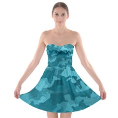 Camouflage Teal Strapless Bra Top Dress
