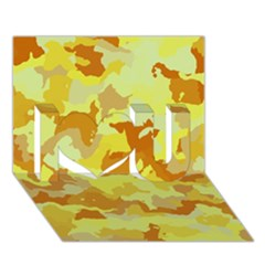 Camouflage Yellow I Love You 3D Greeting Card (7x5)