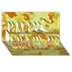 Camouflage Yellow Happy Birthday 3D Greeting Card (8x4)
