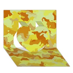 Camouflage Yellow Heart 3d Greeting Card (7x5)