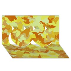 Camouflage Yellow Twin Hearts 3D Greeting Card (8x4)