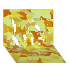 Camouflage Yellow LOVE 3D Greeting Card (7x5)