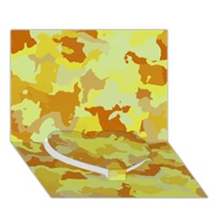 Camouflage Yellow Heart Bottom 3D Greeting Card (7x5)