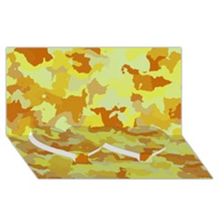 Camouflage Yellow Twin Heart Bottom 3d Greeting Card (8x4)