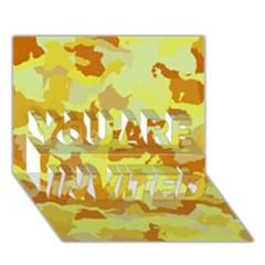 Camouflage Yellow YOU ARE INVITED 3D Greeting Card (7x5)