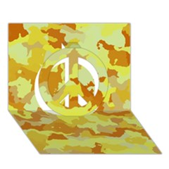 Camouflage Yellow Peace Sign 3d Greeting Card (7x5)