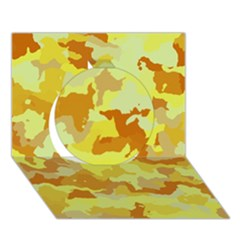 Camouflage Yellow Circle 3D Greeting Card (7x5)
