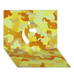 Camouflage Yellow Ribbon 3D Greeting Card (7x5)