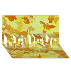 Camouflage Yellow Believe 3d Greeting Card (8x4)