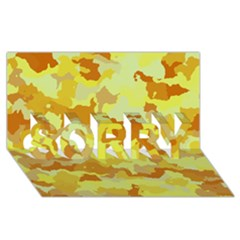 Camouflage Yellow SORRY 3D Greeting Card (8x4)