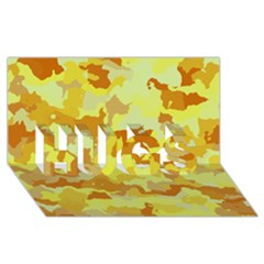 Camouflage Yellow Hugs 3d Greeting Card (8x4)