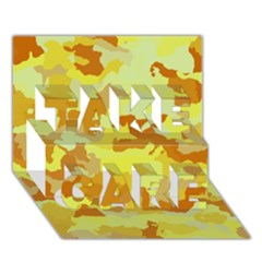 Camouflage Yellow Take Care 3d Greeting Card (7x5)