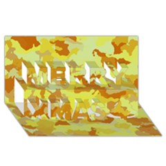 Camouflage Yellow Merry Xmas 3D Greeting Card (8x4)