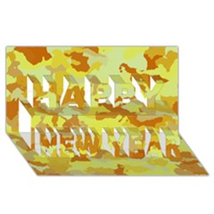 Camouflage Yellow Happy New Year 3d Greeting Card (8x4)