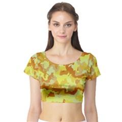 Camouflage Yellow Short Sleeve Crop Top