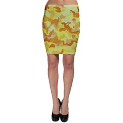Camouflage Yellow Bodycon Skirts