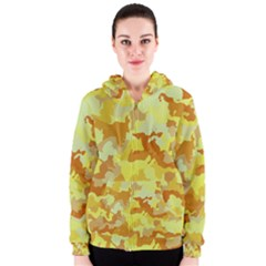 Camouflage Yellow Women s Zipper Hoodies