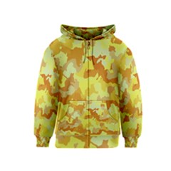 Camouflage Yellow Kids Zipper Hoodies