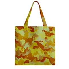 Camouflage Yellow Zipper Grocery Tote Bags