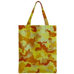Camouflage Yellow Zipper Classic Tote Bags