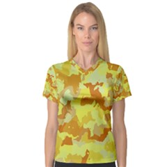 Camouflage Yellow Women s V-Neck Sport Mesh Tee
