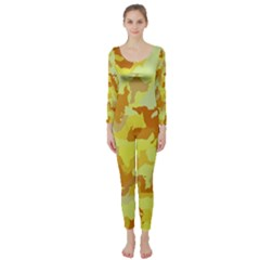Camouflage Yellow Long Sleeve Catsuit