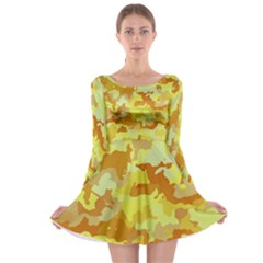 Camouflage Yellow Long Sleeve Skater Dress