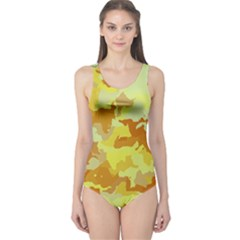 Camouflage Yellow Women s One Piece Swimsuits