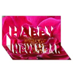 Red Rose Happy New Year 3d Greeting Card (8x4)