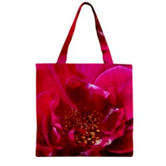 Red Rose Zipper Grocery Tote Bags