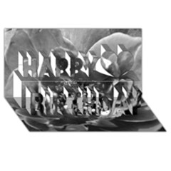 Black And White Rose Happy Birthday 3d Greeting Card (8x4)
