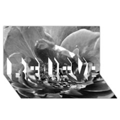 Black and White Rose BELIEVE 3D Greeting Card (8x4)