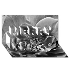 Black and White Rose Merry Xmas 3D Greeting Card (8x4)