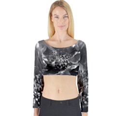 Black And White Rose Long Sleeve Crop Top